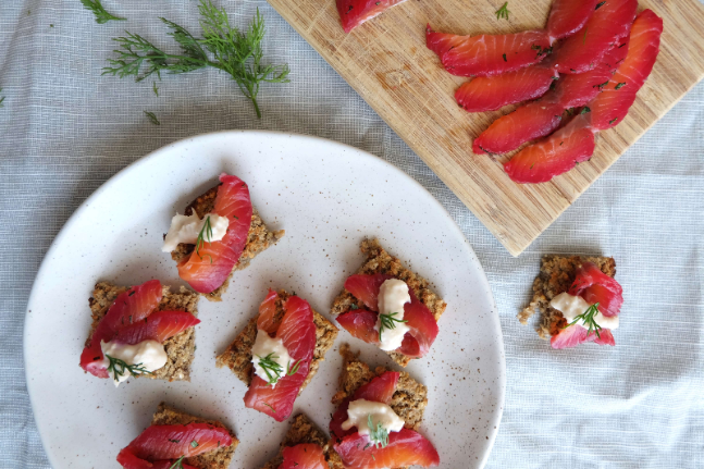 Gluten-free Beetroot-Cured Salmon with Tarragon and Dill