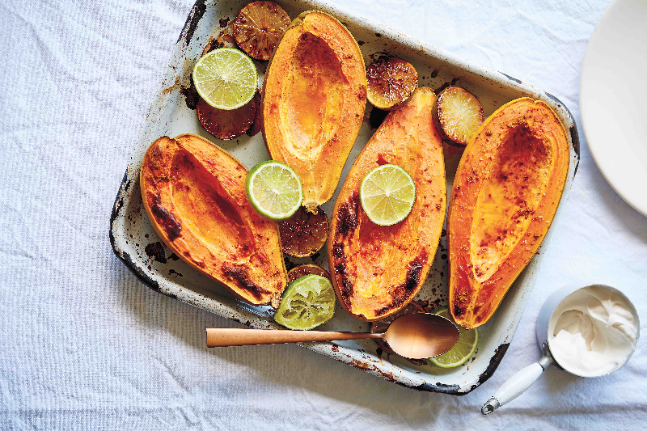 Baked Papaya with Lime and Coconut Yoghurt Recipe