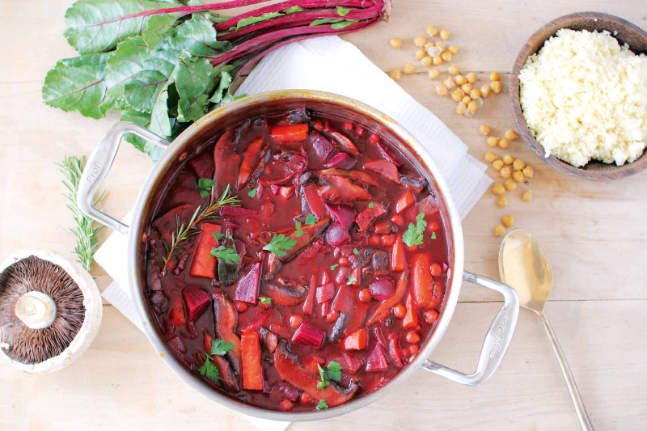 Vegan Beetroot Borscht with Chickpeas and Vegetables