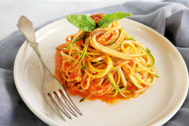 Healthy Roast Capsicum Zucchini Noodles Recipe