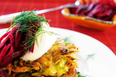 Zucchini and Potato Cakes with Quick Pickled Beetroot Recipe