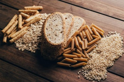 whole grain food on a wooden background