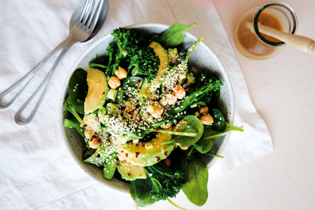 Broccolini, Chickpea and Avocado Salad with Miso Dressing Recipe