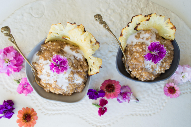 Coconut and Tapioca Pudding with Pineapple Flowers Recipe