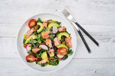 Healthy Salmon, Walnut and Avocado Salad Recipe