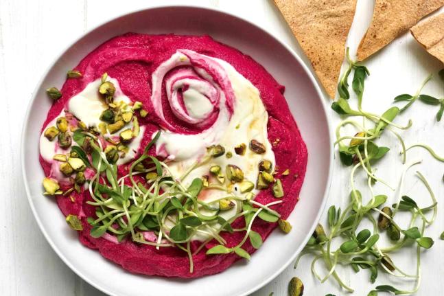 Healthy Vegan Beetroot and Flaxseed Hummus Recipe