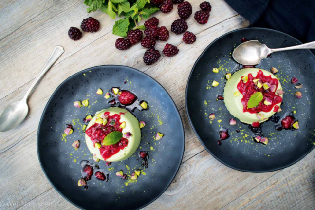 Gluten-free Matcha Panna Cotta with Raspberry Ice Recipe
