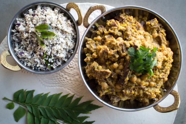 Healthy Lamb Korma with Spiced Cauliflower Rice Recipe