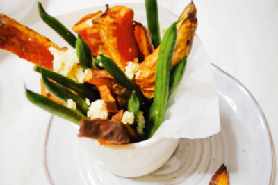 Roasted Sweet Potato Chips with Beans and Feta Recipe