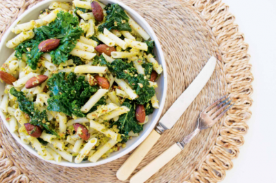 Healthy and Gluten-free Kale Pesto Penne Recipe