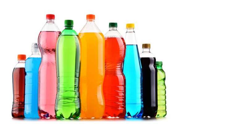 Save Download Preview Plastic bottles of assorted carbonated sugar sweetened beverages