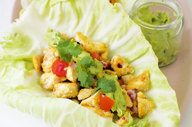 Enjoy our tofu tacos with lime and avocado recipe by Lee Holmes