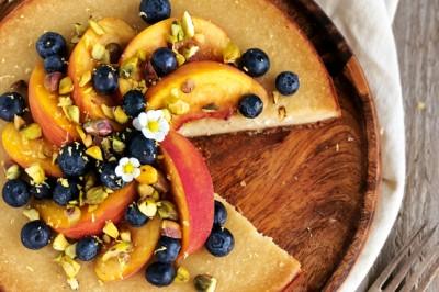 Peach and Pistachio Baked Tofu Cheesecake Recipe