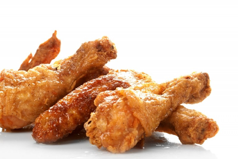 fried food against a white background