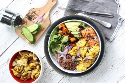 Healthy Roasted Sweet Potato & Cauliflower Poke Bowl