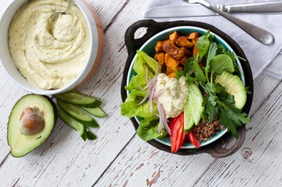 Healthy Roast Sweet Potato, Hummus & Quinoa Poke Bowl Recipe