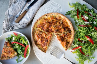 Lemony Smoked Salmon, Spinache And Caper Berry Quiche Recipe