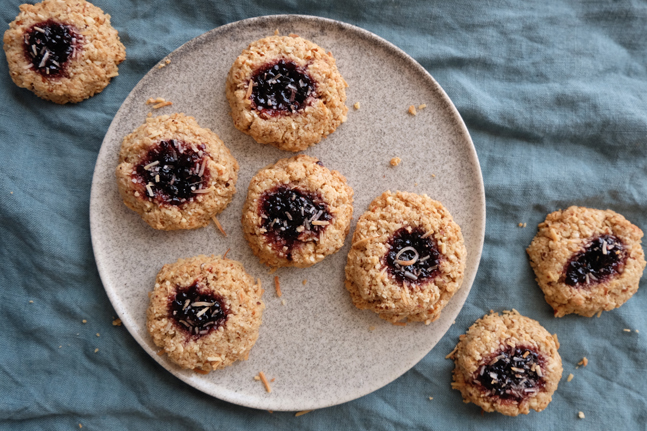 Healthy Oat and Coconut Thumb Print Biscuits Recipe