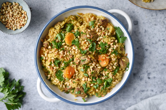 Gluten-Free Spiced Lamb Pilau with Pine Nuts and Apricots Recipe