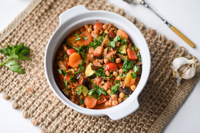 Vegetable and Chickpea Tagine with Dried Apricots Recipe