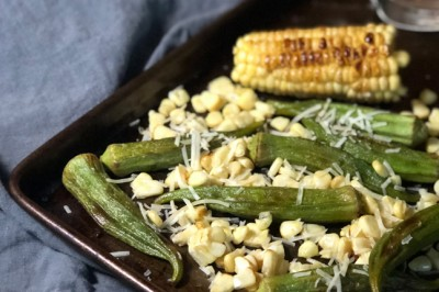 Parmesan-Roasted Okra with Char-Grilled Corn Recipe