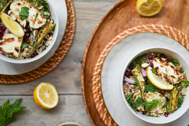 Gluten-Free Okra, Haloumi and Bulgar Salad Recipe