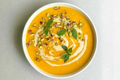Creamy Pumpkin Soup with Tahini and Pistachios Recipe