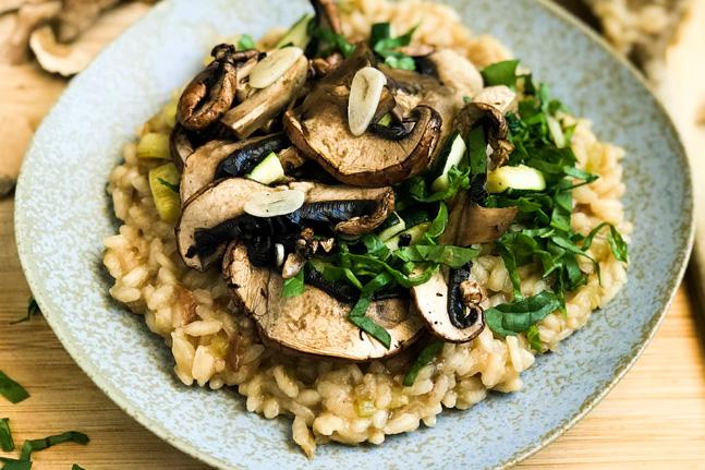 Vegan and Gluten-Free Mushroom and Zucchini Risotto Recipe