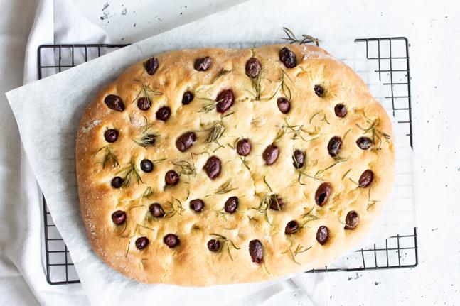 Vegan Spelt and Olive Focaccia Bread Recipe by Danielle Minnebo
