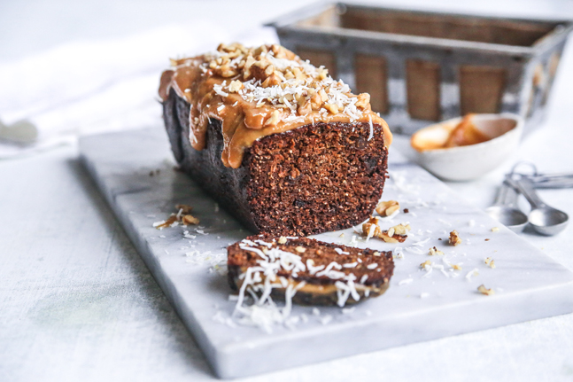 Sweet Spiced Carrot Loaf with Maple and Peanut Frosting