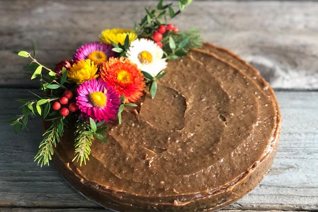 Gluten-Free Chocolate Cake with Tahini Caramel Frosting Recipe