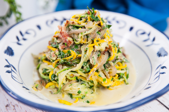 Spiralised Zucchini Noodles Carbonara
