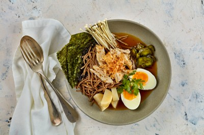 Chilled Soba Noodle Soup with Sesame Chicken