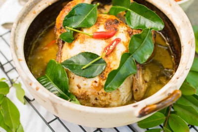 Braised Whole Chicken with Green Curry & Braised Pineapple & Tomato Hasselback