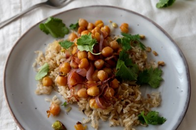 Crispy Vegetable Pilaf with Chickpeas and Preserved Lemon Recipe