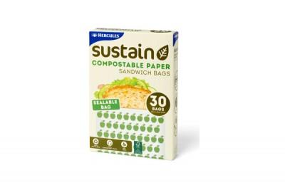 Hercules Sustain Compostable Paper Sandwich Bags