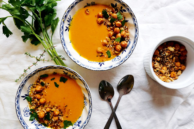 Dutch Carrot Soup with Crunchy Chickpeas Recipe