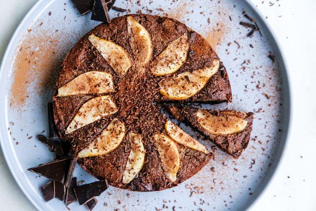 Warming Flourless Pear Chocolate Almond Cake Recipe