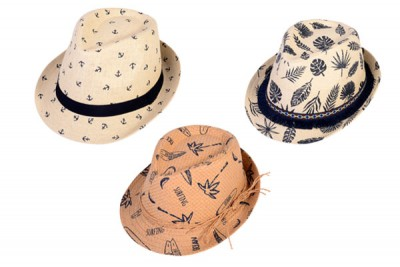 kids printed fedora hat