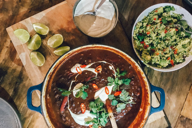 Bean Chilli with Cashew Sour Cream and Guacamole Recipe