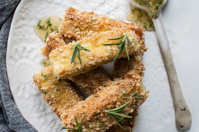 Crispy Haloumi Chips with Lemon, Rosemary and Honey Recipe