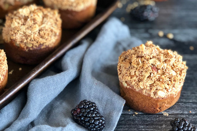 Try Lisa Guy's delicious Blackberry and Apple Crumble Muffins