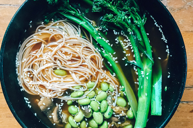 Miso Broth, Brown Rice Noodles and Leafy Greens Recipe