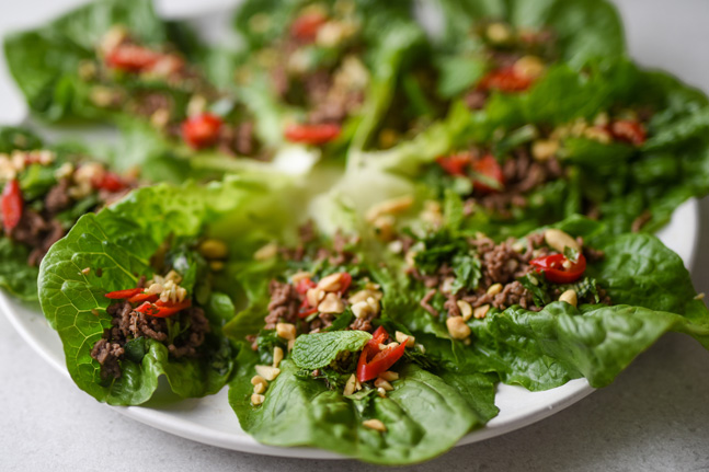 Try our Asian-inspired Spicy Beef Lettuce Cups Recipe