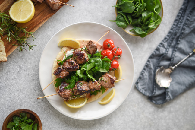 Try our iron-boosting Greek Lamb Skewers in Pita Recipe