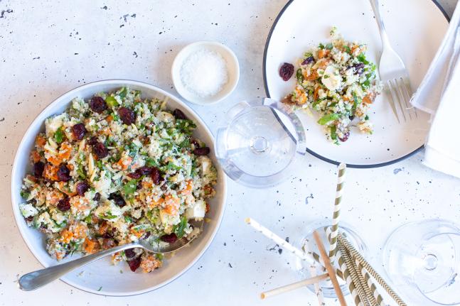 Roast Sweet Potato, Cranberry and Feta Quinoa Salad