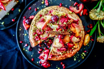 Spiced Ricotta Cheesecake With Baked Stone Fruits