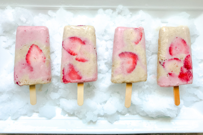 Strawberry, Banana Vanilla Popsicles
