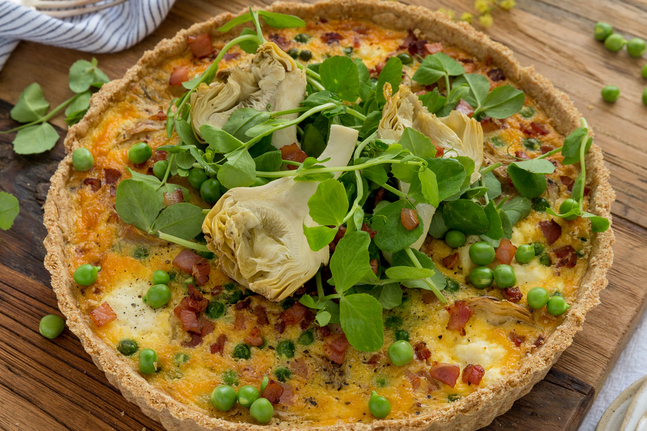 Artichoke, Pea And Bacon Tart