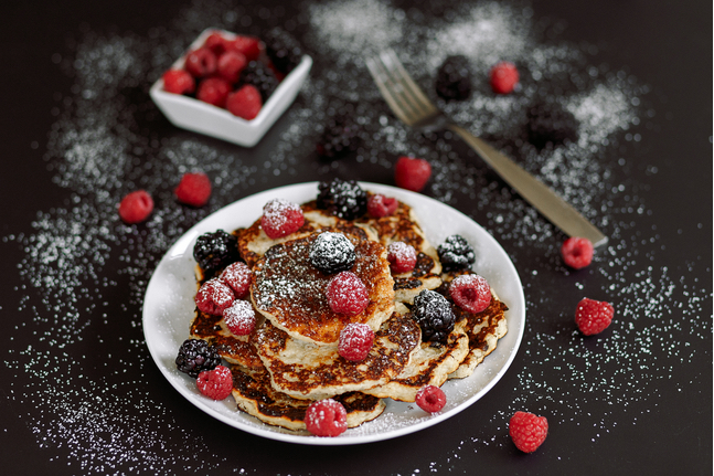 American Pancakes With Raspberry And Blackberry